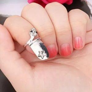 Silver Star Snake Nail Ring